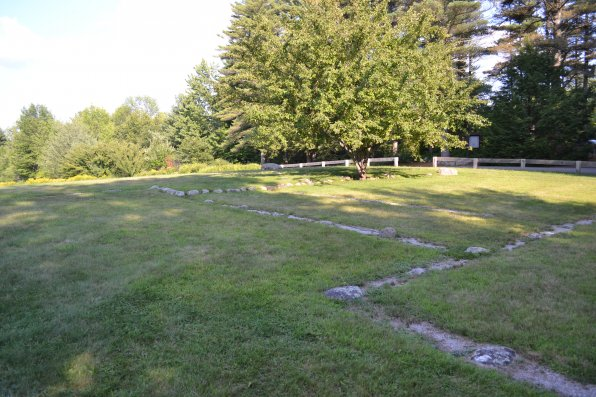 This may appear to be an empty field, but if you look close there are many strategically placed rocks, which just so happen to outline the house where Mary Baker Eddy was born.