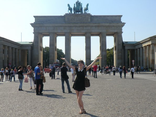 We'd say Concord's Clara Symmes looks right at home in front of the Brandenburg Gate last September, wouldn't you? She spent her first year after high school in Germany and many other parts of Europe.