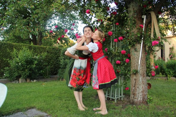 Symmes with her host sister, Luise, in traditional South-German and Austrian dresses called dirndls.