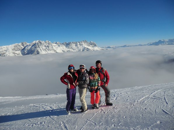 Clara Symmes with her host family skiing in the Austrian Alps.