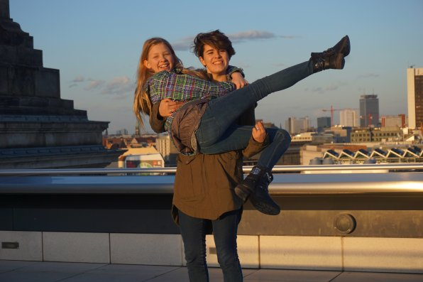 Lost scene from Dirty Dancing 2? Nope, that's just Concord's Clara Symmes and her host sister, Luise, on top of the parliamentary building (Reichstagsgebäude) in Berlin.