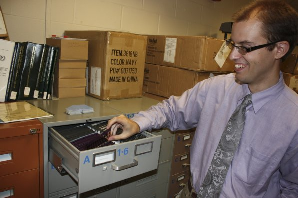 Reference and electronic resources librarian Tom Hemstock shows us where the microfiche is kept, deep in the bowels of the library. In a law school setting, a librarian like Tom can garner rock star status. Consider the microfiche one of his deeper cuts.