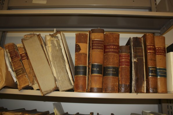 What's a law school without a bunch of old books? The school was founded in a bull barn (perfect for lawyers!) in East Concord back in 1973, but it looks like some of these books might just predate that.