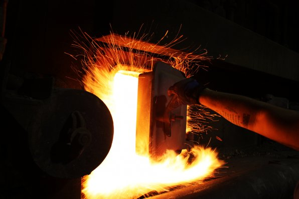 The furnace reaches temperatures as high as 1,800 degrees Fahrenheit.
