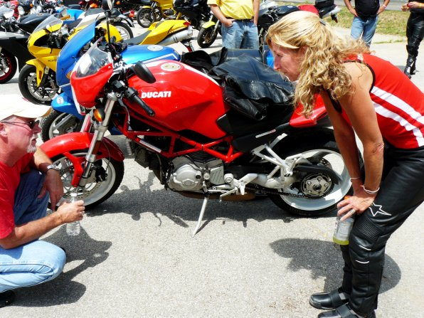 Sean Coelho and Maureen Richards talk coolant systems for their motorcycles.