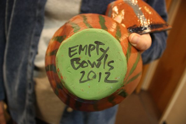Parker Academy students made ceramic bowls to sell at the event.