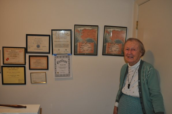 Miriam Hill has done it all! Here she is with the certificates to prove it.