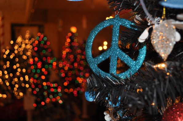 Ed and Laurie Drury got into the spirit of the season by adding a peace sign.