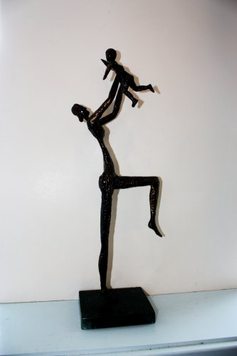 """Mother and Child,"" David Borrus, bronze."