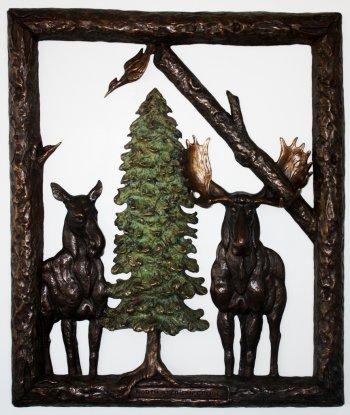 """North American Gothic,"" David Smus, bronze."