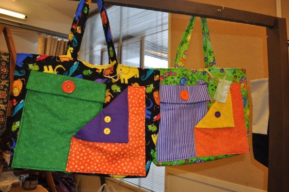 Colorful bags by Sharie Annicchiarico of Concord.
