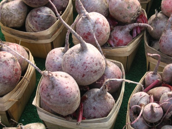 Beets, fresh from the earth to your mouth via a farmers' market.
