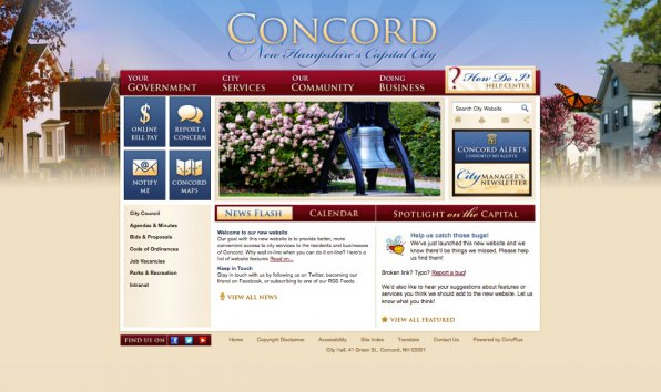 If you go to concordnh.gov and it looks like this, that means the new Concord website has been launched. Get ready to tweet a Pinterest to Facebook via your Spotify eHarmony iPad AOL Lycos.