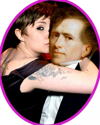 Time-traveling paparazzi snapped this shot of Pierce with time-traveling Lena Dunham. WEDDING BELLS?!