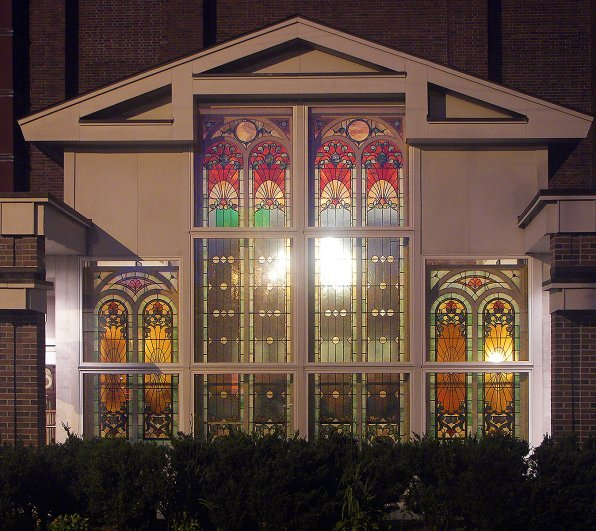 A shot of the stained glass from the outside. The stained glass was repurposed from a nearby church.