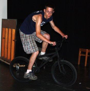 Thomas Boyce showed off some bike tricks.