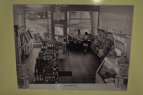 This is a view inside Alosa's Self-Service Market, which stood at 111 1/2 S. Main St. Is it just us, or is that box of Corn Flakes humongous?