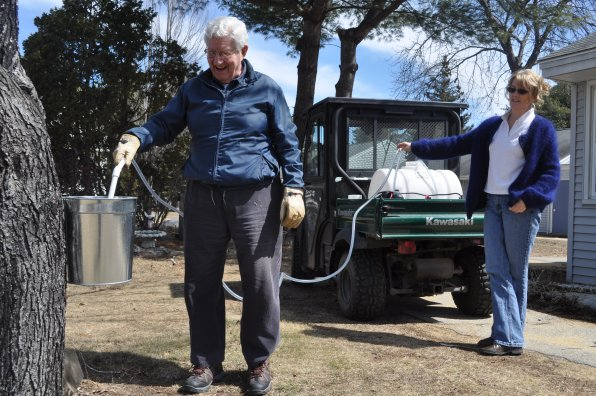 Bill Morrill and Sue Pollock collect sap using a special pump system created by Wilber.