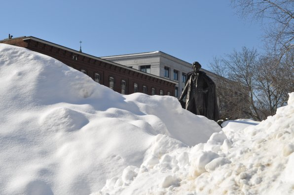 1. It's not every day you get to see a former President of the United States of America heroically climbing snowbanks in your city, especially when they're made of bronze (the old prez we mean, not the snowbanks. That would make life difficult for plow drivers). That's good ol' Franky P., or Franklin Pierce to you.