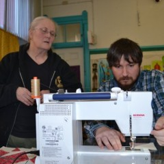 Believe it or not, Tim can actually use a sewing machine – kind of