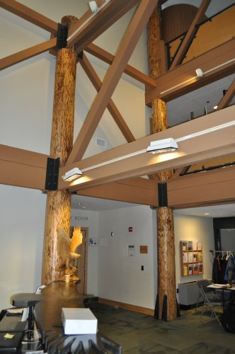 <strong>N.H. Audubon's McLane Center</strong></p><p>The McLane Center added a 12,000-square foot addition that is a Gold Level LEED certified building, with a ton of cool energy efficient touches. The posts used in the building's lobby are from white pines that were cut down to make space for the parking lot, and Audubon employees stripped the bark (they are also protected by water-based, low-emission polyurethane).