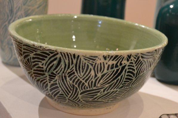 Black and Green Carved Bowl, Soderberg.