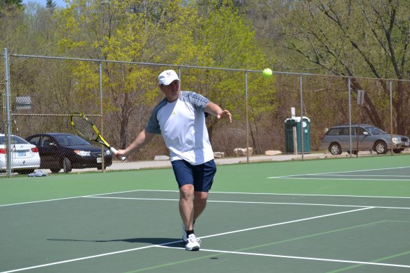 Alex Mezibov, the newest member of the Capital City Tennis Network and a Concord resident, shows great concentration with this forehand shot. Note: It was a pretty good shot.