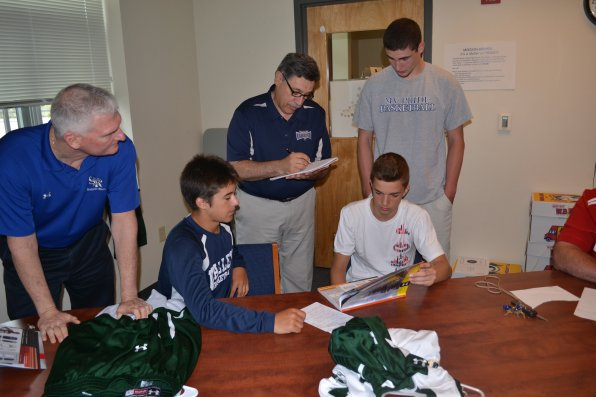 It's not easy choosing what jerseys will look good for the next few years, but somehow players James Shattuck, Jake Hebert and Ian Curtin did, with the help of athletic director Kevin O'Brien and Brine Sporting Goods rep Bob Palisi. We thought camo was a solid choice, but got outvoted.