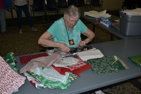 Brenda Grey was in charge of getting the fabric ready for sewing, and did she ever do a good job.