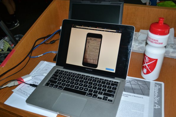That's what a prototype app on a phone on a computer looks like.