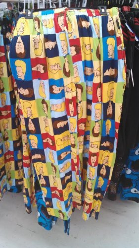 """""""I am the great Cornholio. I need offensively bright colored Beavis and Butthead face sweatpants for my,"""" um, well you know the rest."""