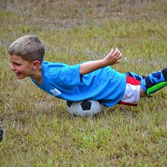 It's all fun and games when the Bow Kindergartners play soccer