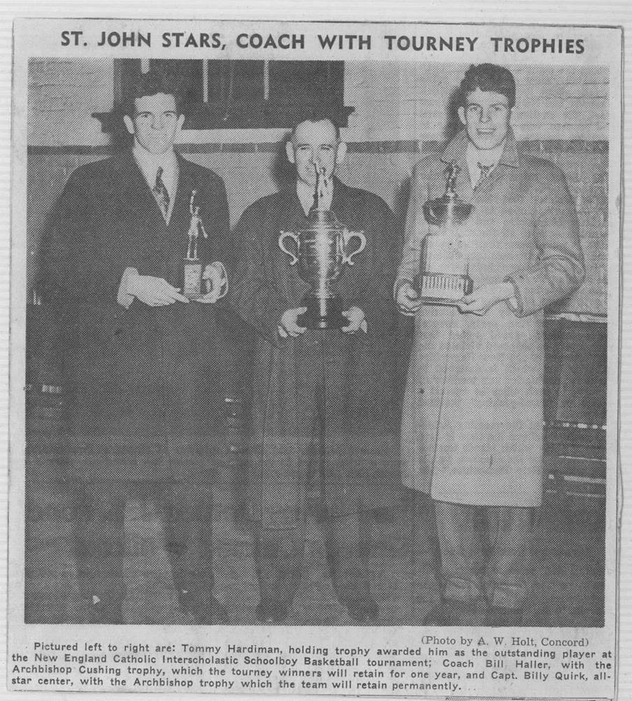 From the era of sweet trophies and sweet overcoats comes this photo from Jim Boyle of Tommy Hardiman, coach Bill Haller and Billy Quirk after the New England Catholic Interscholastic Schoolboy basketball tourney.