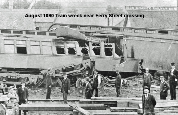 We're all for bringing train travel back to Concord, but only if that stuff works. Looks like this go-round in August 1890 wasn't so hot. This photo of a train wreck near Ferry Street crossing comes to us from reader Earl Burroughs, and features several bystanders looking not particularly surprised or worried that anything went wrong. And also looking super dapper in vests and coats and awesome hats.