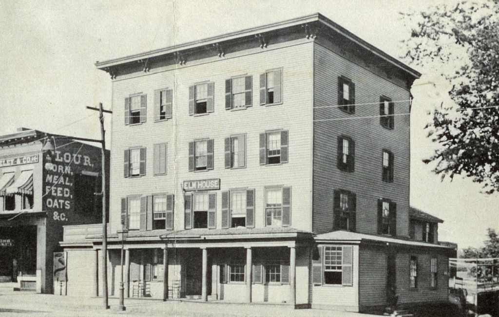 "Here we have Elm House, presumably named after Reinhorn Elm (note: not a real guy), which once stood at the corner of North Main and Pleasant Street extension and also stood next to a store that sold flour, corn, meal, feed and oats – it must have been a ""food items with absolutely no flavor"" store. We know those were big back in the day. Thanks to reader Earl Burroughs for the photo."