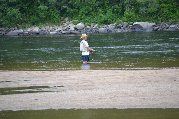 Nothing like taking a walk into the Merrimack River for a little daytime fishing.
