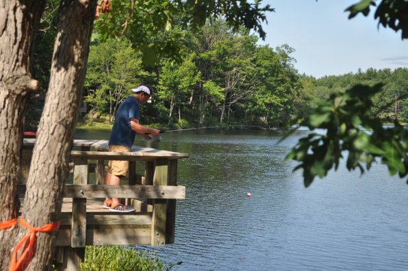 Richie Clar takes in a beautiful afternoon at Hothole Pond.