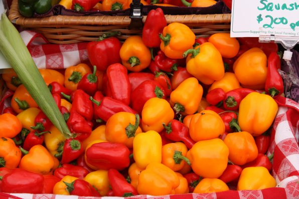 The snacking sweet peppers at Apple Hill Farm's booth looked downright peppery.