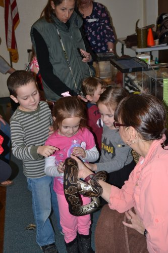 Joe, Isabelle and Natalie Crevier take turns petting Lucille, a ball python.