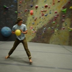 Playing dodgeball in a rock climbing gym is a thing that exists now