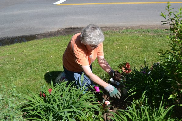 That's club president Doris Glennon just digging in the dirt, planting flowers.
