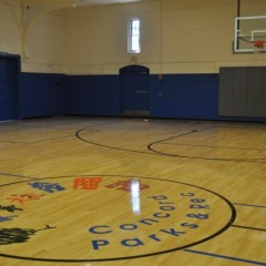 The Green Street Community Center basketball floor is so perty now