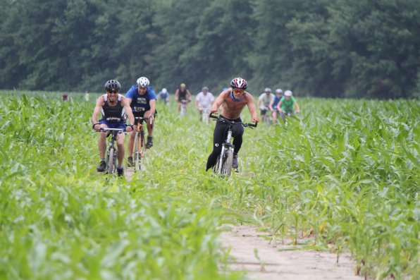 Nothing says triathlon like biking through a cornfield next to a river in the middle of summer.