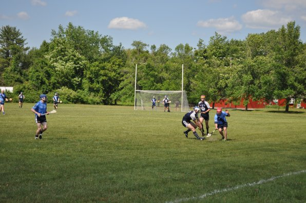 The Barley House Wolves had their hurling home opener at Amoskeag Beverages in Bow on Saturday afternoon, and hurl they did! They defeated a visiting team from Hartford, and if we understood how the scoring went in hurling, we'd totally put the final score here. It was a perfect day for some good action, though, and there was plenty of opening-day pageantry – the teams walked onto the field to the sound of bagpipes and the first ball was thrown out by Mayor Jim Bouley.