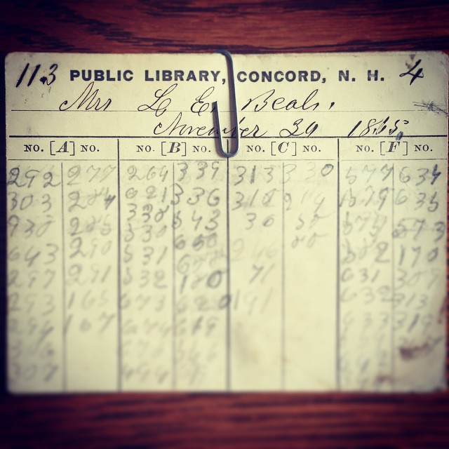 Here at the 'Insider,' we like relics from Concord's past. That's why we stop by the downtown Franklin Pierce statue every Thursday to share a sandwich with him. And it's also why we love this, a picture of a Concord library card from 1865. Who knew they even had books back then? Thanks to the fine folks at @concordnhlibrary for sharing the picture, and thanks to this reader from the past for checking out so many books back in the day. He or she certainly appears to be well-read in books that can be categorized by three digit numbers. We want to see your Instagram photos, too – just tag us with #concordinsider when you post!