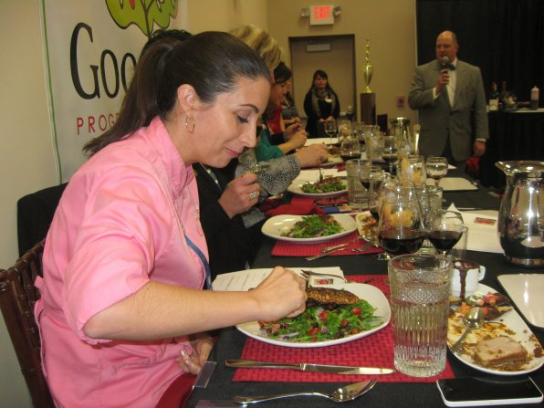 Chef Nicole Barreira of ChefNicole.com & Corporate Chef of Great NH Restaurants enjoyed judging the dishes all prepared with chocolate. Who wouldn't?!?!