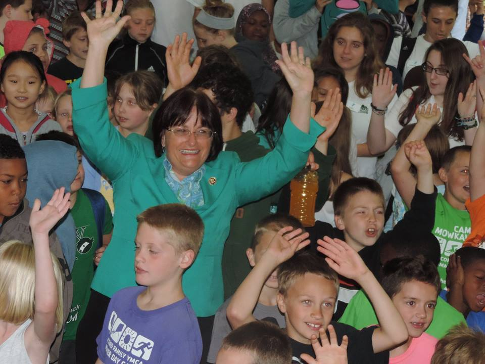 This appears to be Congresswoman Annie Kuster waving 'em like she just don't care during a visit to kick off the 2015 season at Camp Spaulding on June 30.