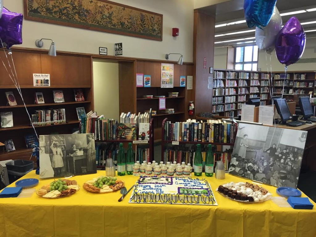The Concord Public Library celebrated 160 years of existence last week with a little party during National Library Week. There was a delicious cake (we had a piece), as well as other snacks and drinks. We sure do hope we hang around long enough to see our big 160 one day – purely for the chance to eat a cake that size.