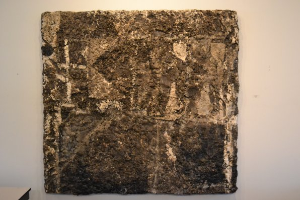 Armor's Grace (Pollaro), oil and tar on panel.