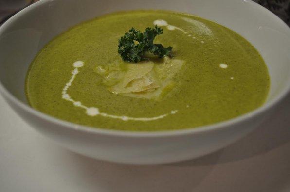 Wellington's version of a vegetarian kale and Parmesan soup.